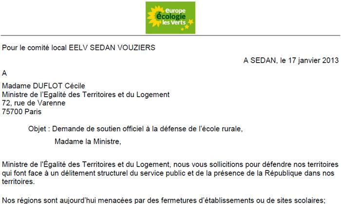 Lettre à La Ministre Cécile Duflot Demande De Soutien