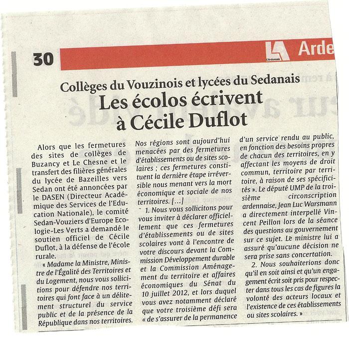 Collèges du Vouzinois et lycées du Sedanais Les écolos écrivent à Cécile Duflot
