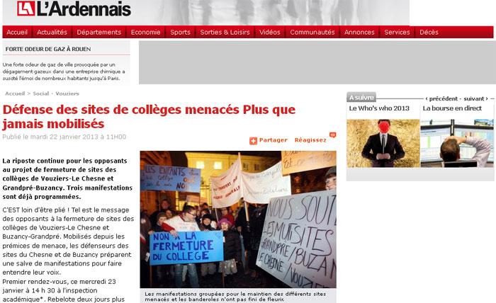 Défense des sites de collèges menacés Plus que jamais mobilisés