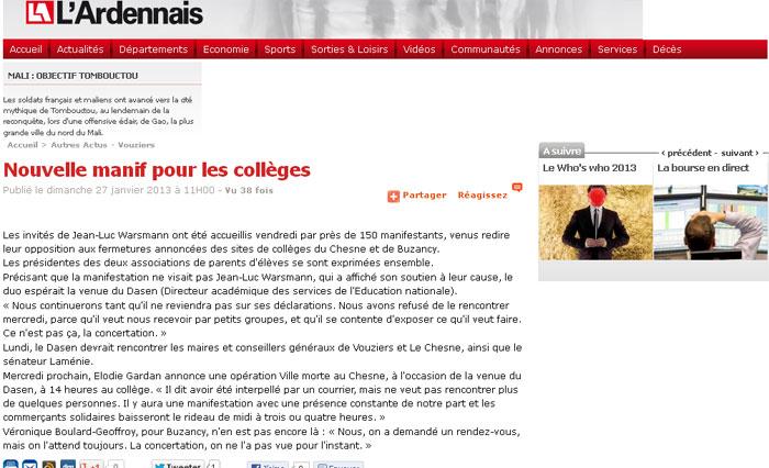 Nouvelle manif pour les collèges