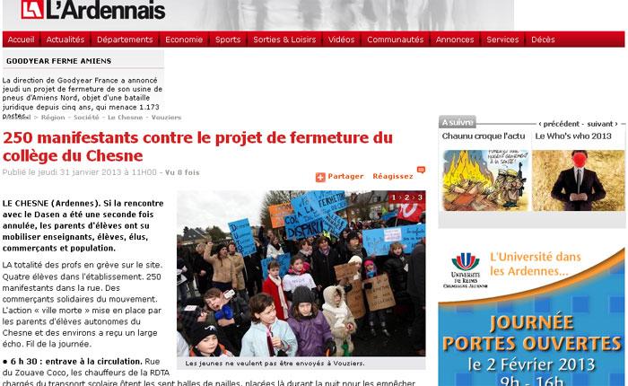 250 manifestants contre le projet de fermeture du collège du Chesne
