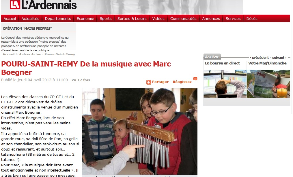 Accueil > Autres Actus - Pouru-Saint-Remy POURU-SAINT-REMY De la musique avec Marc Boegner
