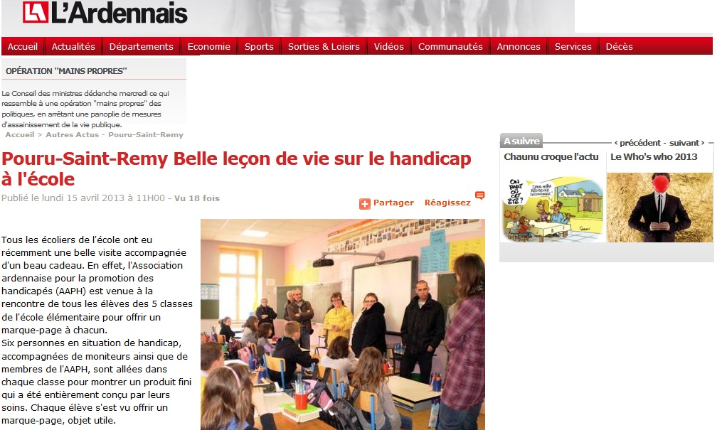 Pouru-Saint-Remy Belle leçon de vie sur le handicap à l'école