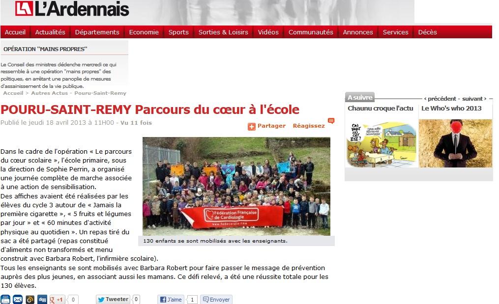 POURU-SAINT-REMY Parcours du cœur à l'école