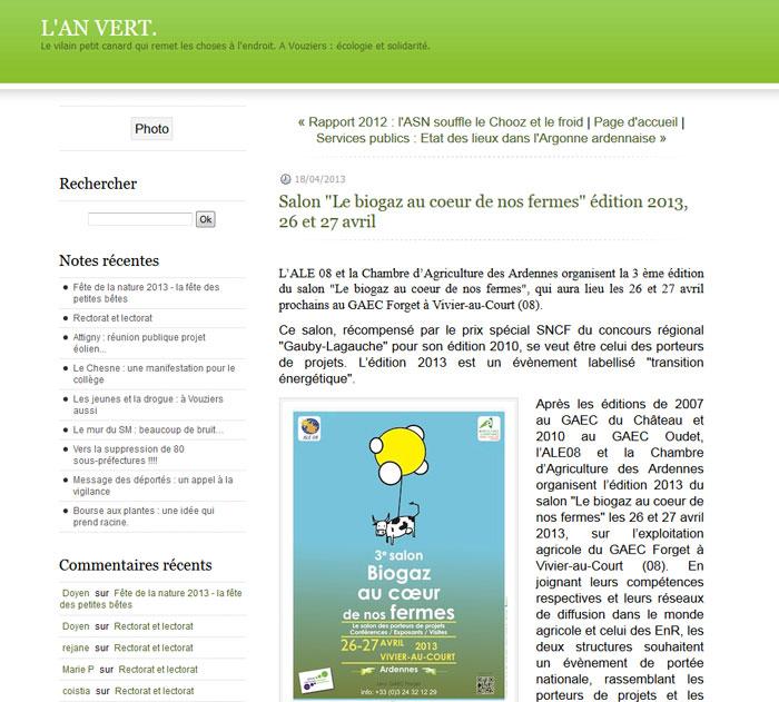 """Salon """"Le biogaz au coeur de nos fermes"""" édition 2013, 26 et 27 avril"""