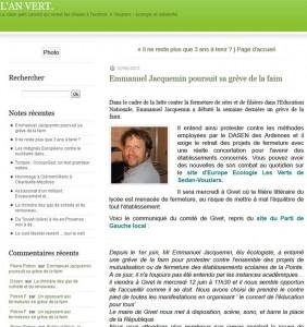 Emmanuel Jacquemin poursuit sa grève de la faim