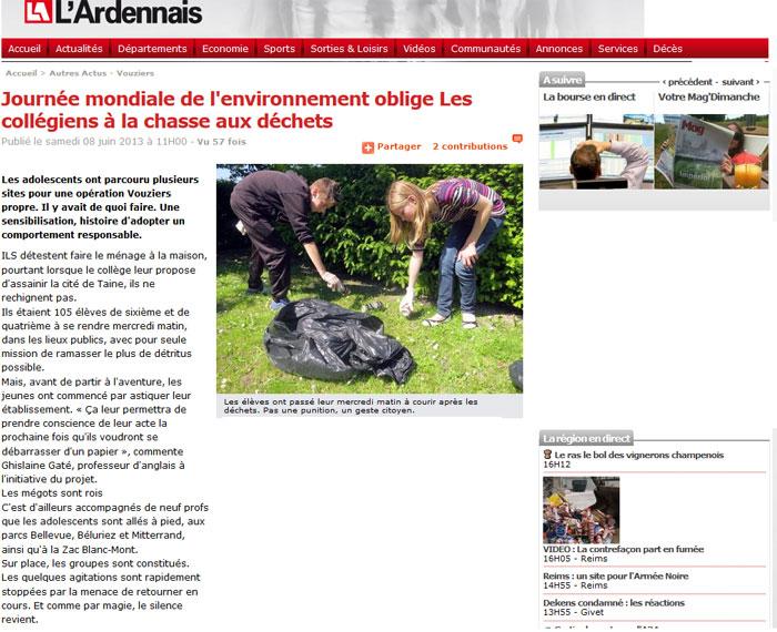 Journée mondiale de l'environnement oblige Les collégiens à la chasse aux déchets
