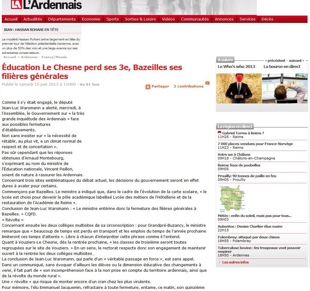 Éducation Le Chesne perd ses 3e, Bazeilles ses filières générales