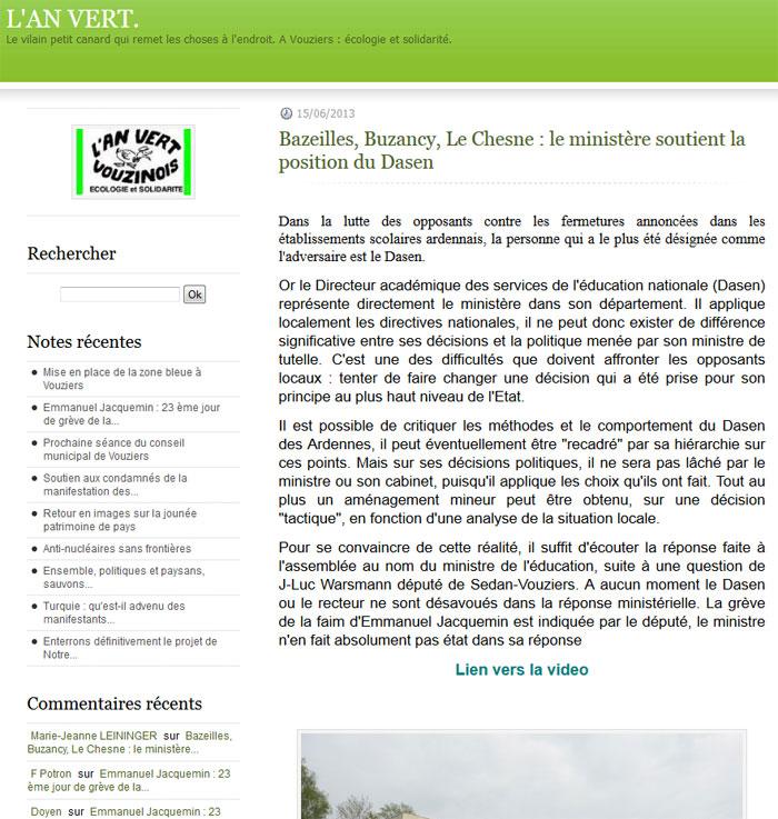 Bazeilles, Buzancy, Le Chesne : le ministère soutient la position du Dasen