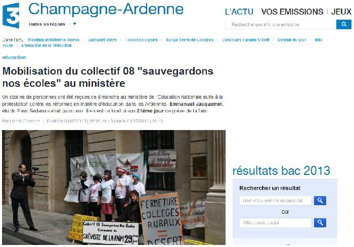 """Mobilisation du collectif 08 """"sauvegardons nos écoles"""" au ministère"""