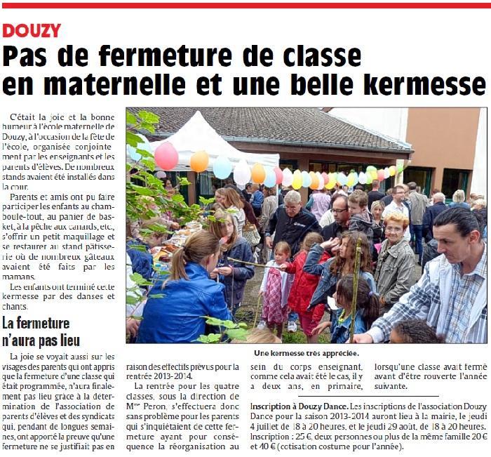 Douzy : Pas de fermeture de classe en maternelle et une belle kermesse