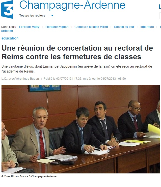 Une réunion de concertation au rectorat de Reims contre les fermetures de classes